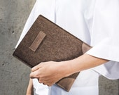 Cocones iPad Air 1 & 2 Sleeve / Case / Cover - Deep Caramel Brown Wool Felt and Premium Brown Leather