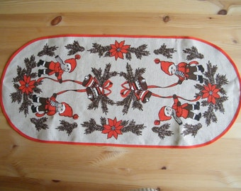 Oval Vintage Swedish Christmas Decorative Napkin - Small Table Runner -  Placemat with Christmas Gnomes, Bells and Flowers