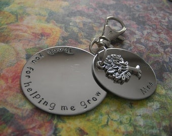 Teacher thank you gift, hand stamped metal keychain, personalise with your own message