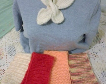 LOT of 5 Knit Collars handmade 1980s stylish warm White Red Peach 2 Variegated Easy closure