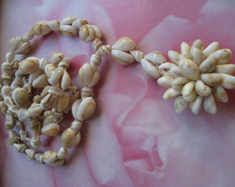 Beach Wedding Vintage Cowry Shell Necklace Long Hippie BoHo Necklace
