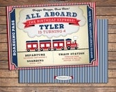 Train Birthday Invitation | Printable | Boys Party Invite | Blue Red | See our Shop for Matching Train Themed Party Decorations