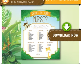 Digital INSTANT DOWNLOAD   Printable Baby Shower Game   What's in your Purse   Safari Theme   View our Shop for Games, Invites and Decor