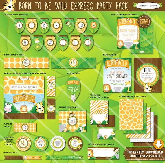 Safari baby shower decorations printable party package for Baby shower decoration packs