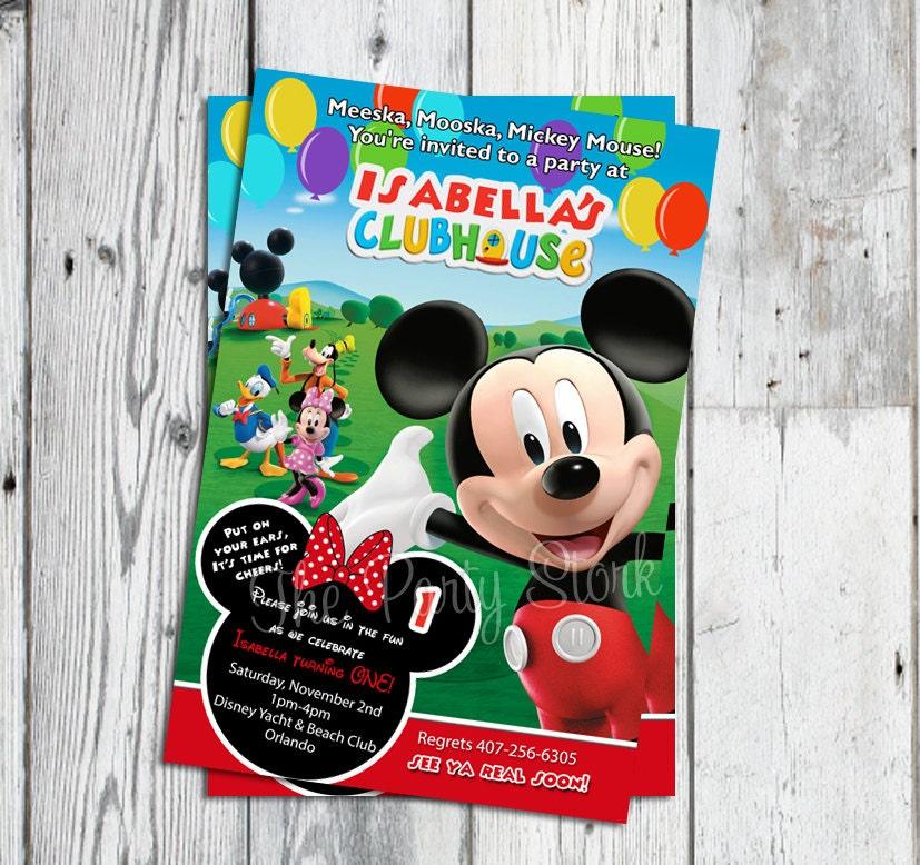 Mickey Mouse Birthday Invitations Etsy Minnie And Invitation Printable
