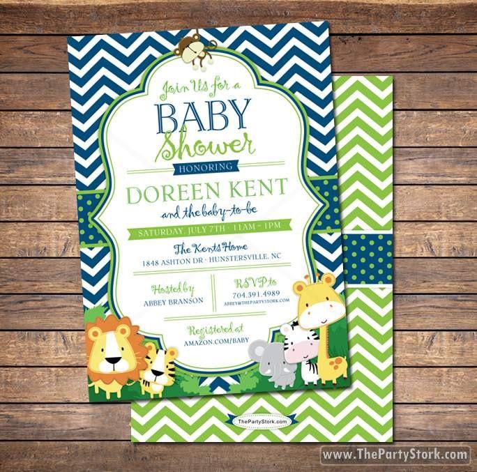 Safari Baby Shower Invitation: Safari Baby Shower Invitation Jungle Safari Baby Shower