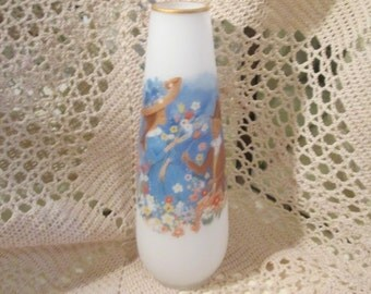 Vintage Napco Ware Frosted Vase with Courting Scene, Signed Foster