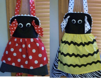 Little Girl's Bumble Bee or Lady Bug Apron