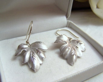 Sterling Leaf Earrings Dangle Style Altered Authentic Vintage Diamond Cut Detail Satin Finish