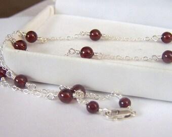 Garnet Handmade Artisan Necklace Genuine Gemstone Round Wire Wrapped Sterling Silver Round Red