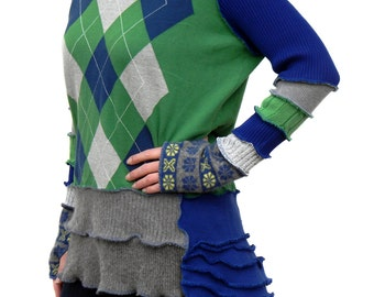 Elf Hood, Sweater Jacket, Hoodie, Upcycled, Recycled Sweaters