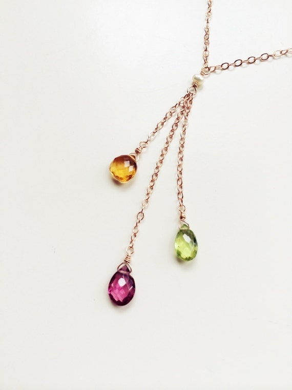 three birthstone gold necklace mothers day by houseofwire