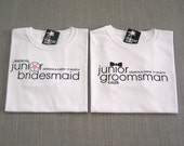 SALE - Junior Groomsman Black Bow Tie Wedding Gift and Junior Bridesmaid Flower Wedding Gift : 2 Shirts For 25 Dollars