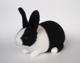 Dutch rabbit crocheted toy - black/white