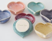 "7 Bridesmaid Gift Heart ""Thank You"" Ring Holders, Ceramic Jewelry Bowl, Handmade Pottery Ring Dish, Made to Order"