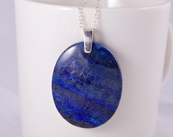 September birthstone, large oval pendant with lapis lazuli gemstone, sterling silver, blue lapis necklace