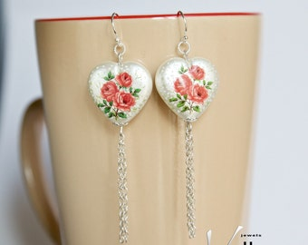 Long statement dangle earrings with sterling silver and beautiful pearly shiny hearts, with red roses, flower long chain fashion earrings