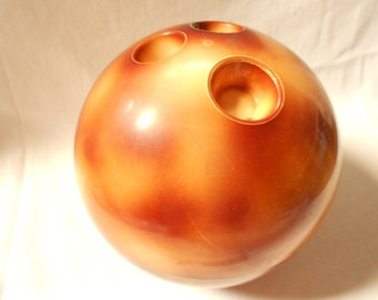 French Vintage Tortoise Shell Plastic Bowling Ball Ice Bucket (A934)