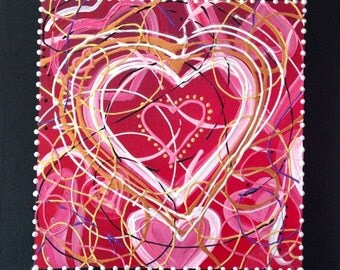 "Heart Painting Pink Gold Red Love Gift Art 12"" x 12"" Canvas"