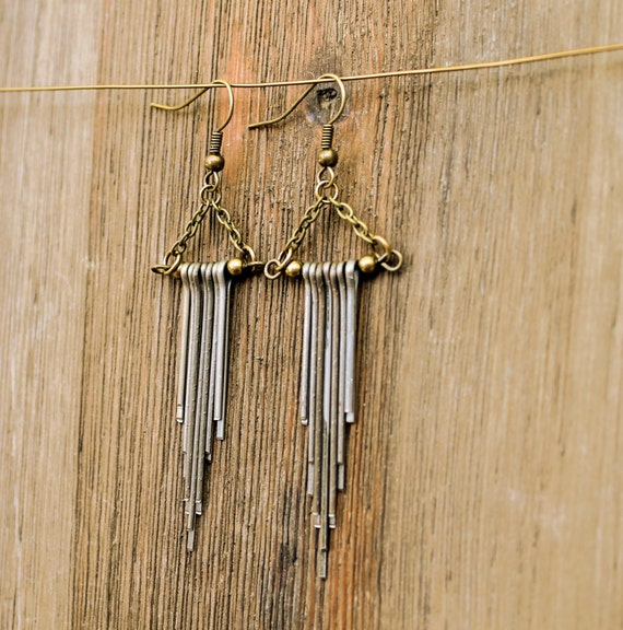 Black pin earrings- native, chevron inspired with antique brass chain
