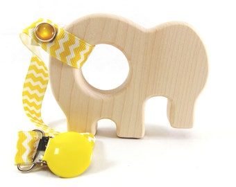 Organic Wooden Elephant Teether - Natural and Safe - Naturally Anti-bacterial Baby Teething Toy
