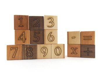 14 Math and Counting Numbers Blocks - Organic Building Blocks, Natural Number Block Toys