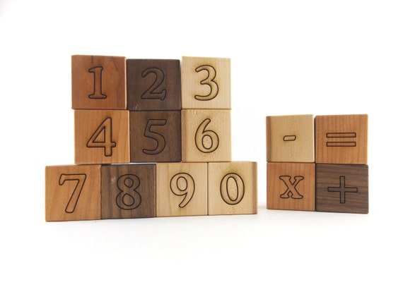 14 Math and Counting Numbers Blocks - Organic Building Blocks, Natural Number Block Toys