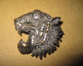 Vintage brooch tiger Italy metal rhinestones patina very good condition 5.5 cm width of 5.5 cm