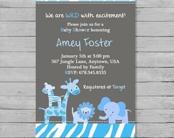 Blue and Grey Safari Baby Shower Invitation - DIY Custom Printable