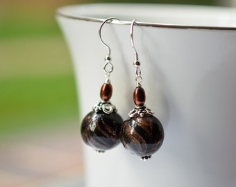 Authentic Murano Glass Sterling Silver Earrings Chocolate Swirl Venetian Glass 24 K Gold Lined Dangle Earrings