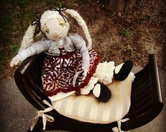 """Pattern for  """"Little Bunny in the Country"""" Raggedy Lottie ragdoll doll knitted doll Bunny rabbit"""