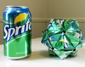 Sprite Can Origami Ornament.  Upcycled Recycled Repurposed Art