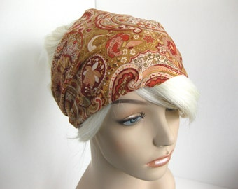 Paisley Floral Bandana Fabric Headband Hair Head Wrap Dreadband Women's Headband Taupe Coral Burgundy Fashion Hair Accessory Gift for Her