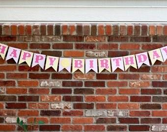 Pink Lemonade Birthday Banner, Lemonade Stand Banner