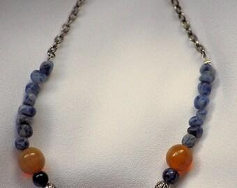 Blue Nugget Locket Necklace