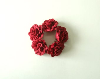 SALE / 5 Brooch flower, Red color rose, Accessories, Wedding, Accessories women, Romantic red color brooch