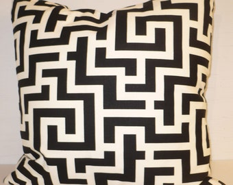 BLACK And WHITE GEOMETRIC Indoor/ Outdoor Pillow Cover