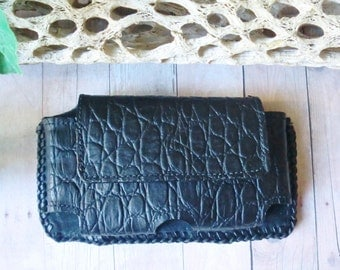 Genuine leather and suede lined black alligator print iPhone 5 5c and 5s hand laced belt case