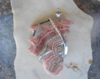 Rhodochrosite Silver Wrapped Pendant