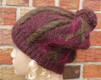 Mohair dark red   and green, hand knit hat with pom pom