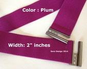 "Belt, stretch belt, Elastic Belt, Belt, 2"" wide, Custom Made Color Plum"