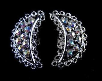 Signed Emmons Earrings Aurora Borealis Rhinestone Crescent Clip On Style Vintage 60s