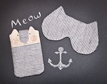 Cat iPhone 6 sleeve and Sleeping Mask Nautical Gift for girl friend iPhone 6 Plus Sleeve Fabric Phone Case Nexus 5 Case Mom Gift