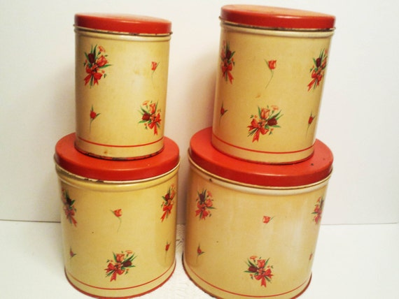 national can rose floral canister set of 4