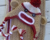 Crochet Baby Sock Monkey Hat and Travel Blanket- Neutral Tan, white and Red MADE TO ORDER