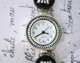 "STEAMPUNK WATCH Vintage TYPEWRITER Key Victorian Bracelet ""Buttons n Bling"""