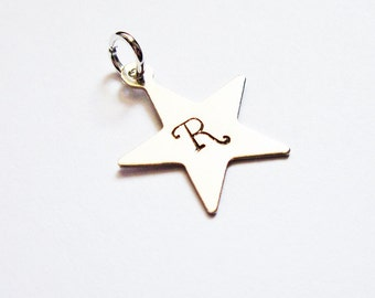 Star pendant, tiny star, initial pendant, initial charm, silver charm, silver star, add on, extra initial, children initial, capital letters