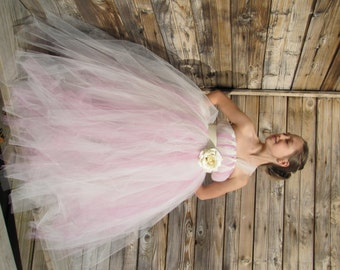 Rose and Ivory tulle dress, Rose dress, Ivory and rose Flower girl dress, Tutu flower girl dress, Girls Tulle Tutu Flower Girl Dress