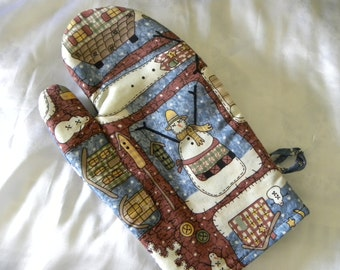 Country Snowmen Oven Mitts, Rustic, Christmas