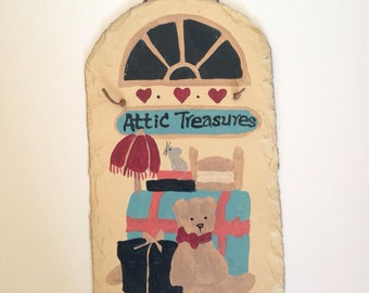 Vintage Slate Wall Hanging, Attic Treasures